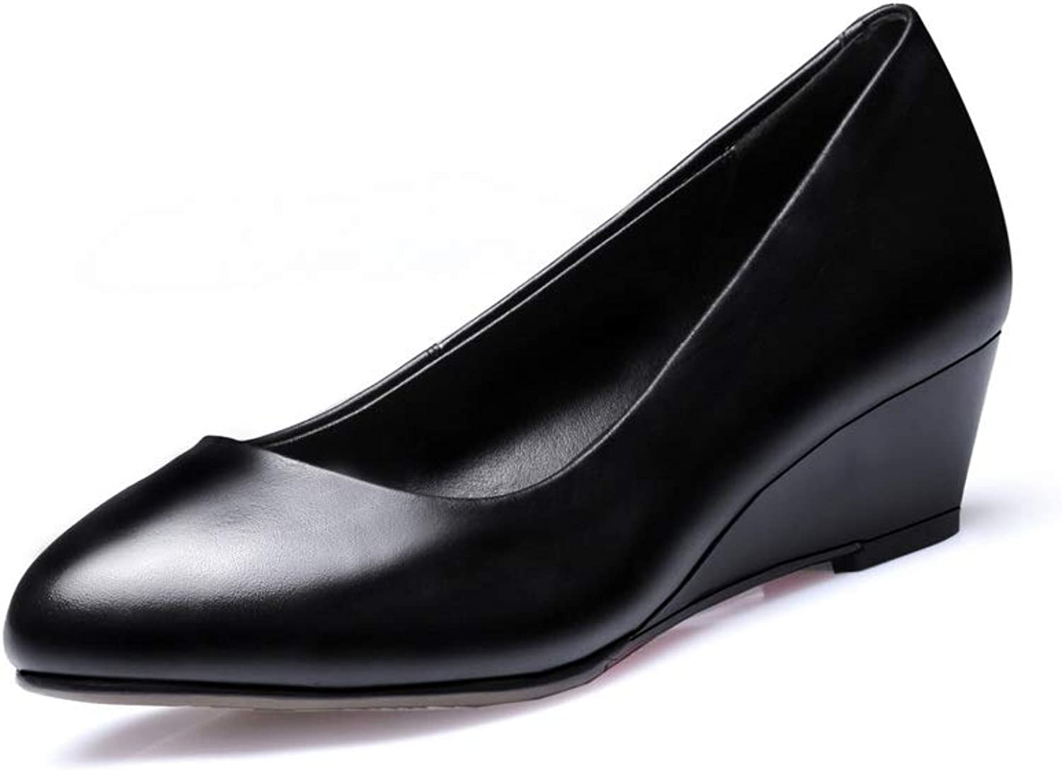 AN Womens Wedges Pointed-Toe Cow Leather Pumps shoes DGU00929