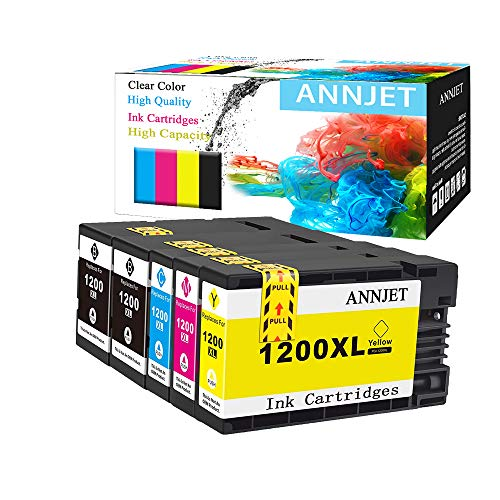 ANNJET Compatible Ink Cartridge Replacement for Canon PGI-1200XL PGI-1200 XL 1200XL used in MAXIFY MB2320 MB2020 MB2350 MB2050 MB2120 MB2720 Printer (2 Black, 1 Cyan, 1 Magenta, 1 Yellow) 5 Pack
