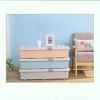 MU Bois Massif de boîte de Rangement portative de ménage, Grand Fond de lit avec la boîte en Plastique de Roues sous Les v...