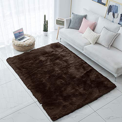 Carvapet Shaggy Soft Faux Sheepskin Fur Area Rugs Floor Mat Luxury Bedside Carpet for Bedroom Living Room, 4ft x 6ft,Brown