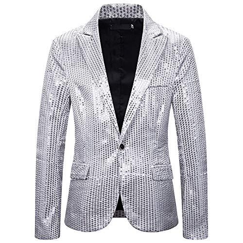 MENAB Herren Gentleman Mode Blazer Slim Fit Einknopf Pailletten Coat Jacket Festlich Jacke Herrenmode Mantel Party Dance Nachtclub Blazer Jacke Slim Fit Sakko Blazer Anzugjacke Freizeit
