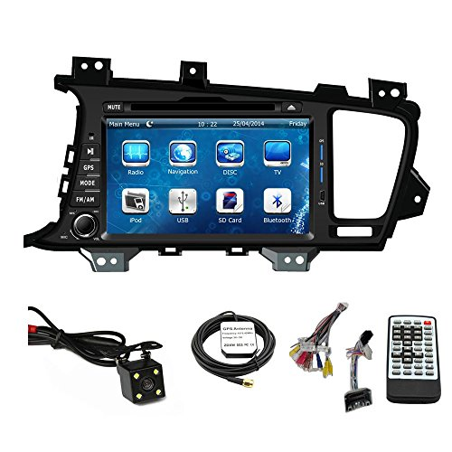 Car Stereo DVD Player for KIA Optima 2011 2012 2013 Double Din 8 Inch Touch Screen TFT LCD Monitor In-dash DVD Video Receiver Car GPS Navigation System with Built-In Bluetooth TV Radio, Support Factory Steering Wheel Control, RDS SD/USB iPod AV BT AUX IN+ Free Backup Camera + Free GPS Map of USA