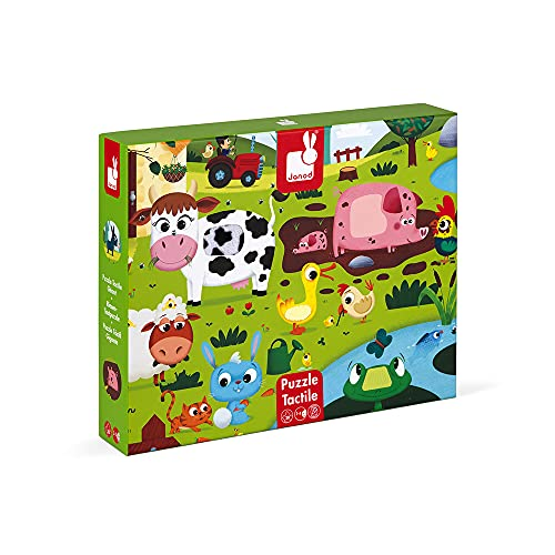 Janod-Los Animales de la Granja Puzle Táctil, 20 Piezas, Multicolor (Juratoys J02772)