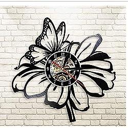 Huanxidp Nature Butterfly Flower Black Vinyl Record Wall Clock reloj de pared moderno Floral Quartz Clock Home Living Room Bedroom Decor