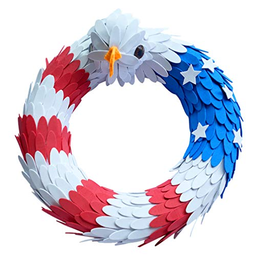 PRETYZOOM American Eagle Wreath USA Patriotic Flag Wreath Garden Hanging Swag for Independence Day July 4th Front Door Window Wall Decoration