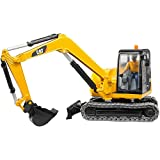 Bruder 02466–Cat Mini Excavadora de Juguete con Trabajador