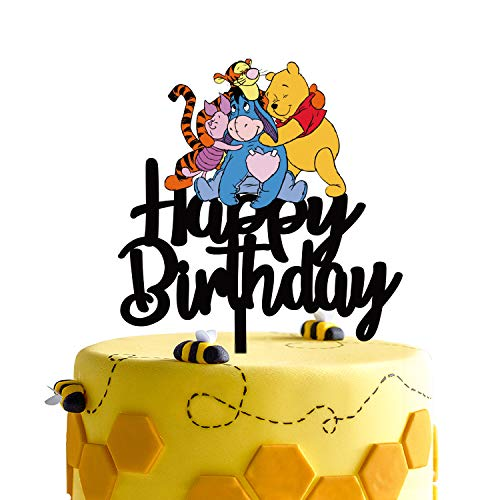 Black Acrylic Winnie the Pooh Happy Birthday Cake Topper Disney Cartoon Winnie the Pooh Theme Birthday Party Suppliers Winnie and Friends Decoration