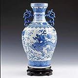 JHDDHP3 Jarrn De Porcelana Azul Y Blanca Arte Chino Decoracin De La Sala Jarrn Decorativo Retro Jarrn Chino De Porcelana China Jarrn Hecho A Mano 32cm * 18cm