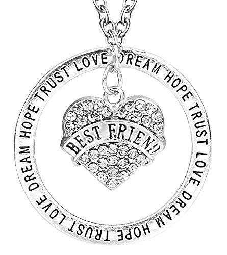 Vrouwelijke ketting - vrouw - hart - vriendschap - hartje - - bff - droom - vertrouwen - hoop - liefde - zilver - origineel cadeau idee best friend hope trust love dream strass