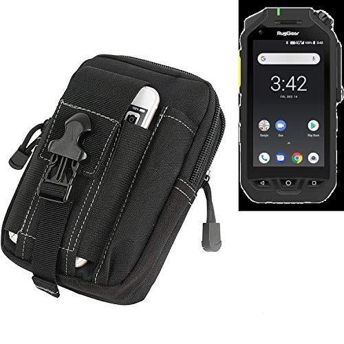 K-S-Trade Gürtel Tasche Für Ruggear RG725 Gürteltasche Holster Schutzhülle Handy Hülle Smartphone Outdoor Handyhülle Schwarz Zusatzfächer