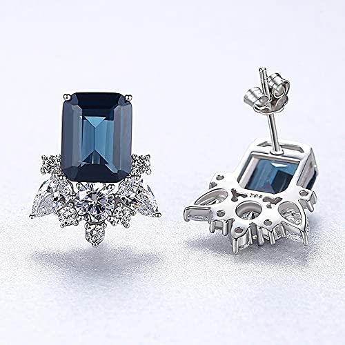 yuge Pendientes de tuerca de plata de ley 925 para mujer, diseño de flores de zafiro, joyería de boda, regalos de fiesta, azul