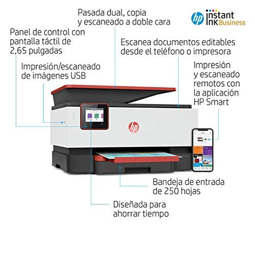 HP OfficeJet Pro 9016 - Impresora multifunción tinta, color, Wi-Fi, Ethernet, rojo, compatible con Instant Ink (3UK86B)