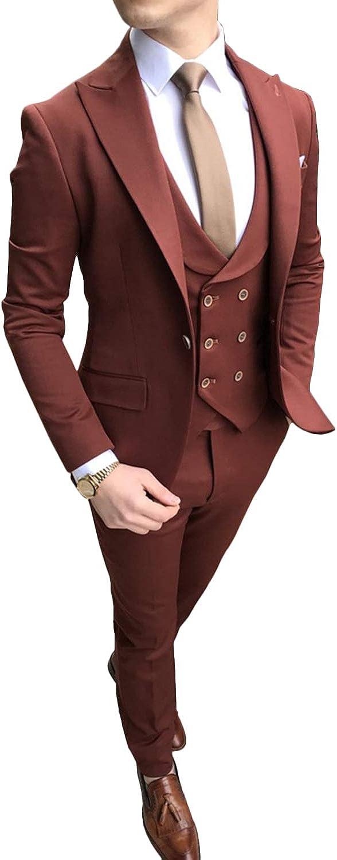 GATMSTZ Men's Slim Fit 3 Pieces Suit Jacket Double Breasted Collar Vest Trousers