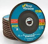 NOVOABRASIVE Discos De Láminas 180 x 22,2 mm 80-Grano Caja De 10 Pzas. Ideal Para Aceros Aleados y No Aleados, Hierro Fundido, Plásticos, Metales Ferrosos - Universal