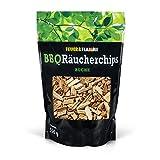 Räucherchips Buche für tolles Raucharoma beim Grillen - 100% natürliches Smoker Holz | Ergiebige und sparsame wood chips für Stand- und Kugel-Grill sowie Smoker | 550g