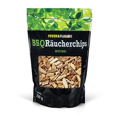 Feuer & Flamme Räucherchips Buche für tolles Raucharoma beim Grillen - 100% natürliches Smoker Holz   Ergiebige und sparsame Wood Chips für Stand- und Kugel-Grill sowie Smoker   550g
