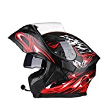 AEMAX, Löwe Helm, Motorradhelm, Anti-Fog-Doppelscheibe Fullface-Helm, Mit Bluetooth, Motorradhelm,...