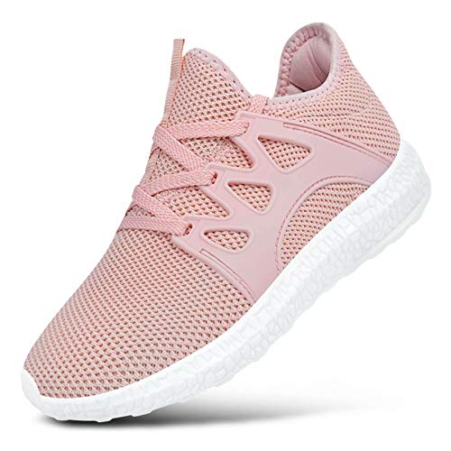 Feetmat Boys Tennis Shoes Breathable Kids Sneakers Athletic Sports Walking Shoes Size 7 Big Kid Pink