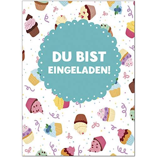 16 Einladungskarten zum Kindergeburtstag Cupcake und Muffin - Einladungen für Kinder zum Geburtstag im Set