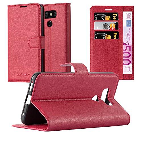 Cadorabo Hülle für LG G6 - Hülle in Karmin ROT – Handyhülle mit Kartenfach & Standfunktion - Hülle Cover Schutzhülle Etui Tasche Book Klapp Style