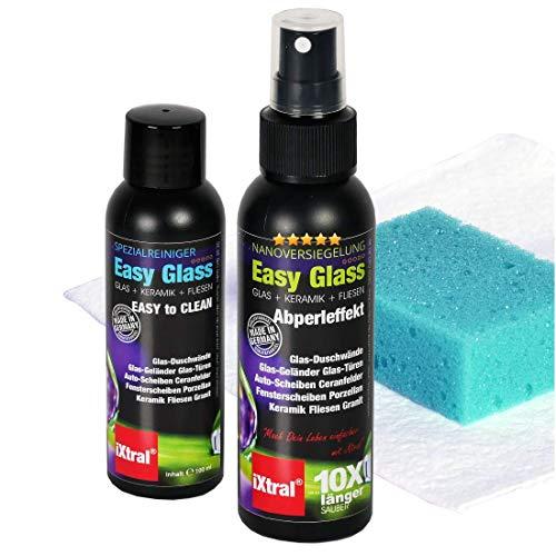 iXtral Easy Glass 2-in-1 Set Nanoversiegelung Dusche Duschwand, Glasversiegelung mit Tiefen-Reiniger Lotuseffekt Abperleffekt an Glas Fliesen Porzellan gegen Kalk & Schmutz, nicht für Acrylglas
