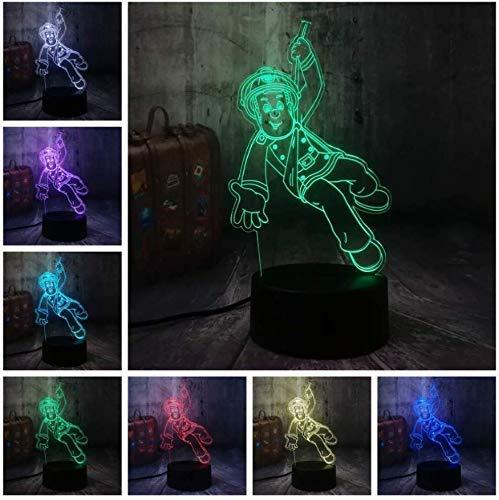 Feuerwehrmann Sam Feuerwehrmann 3D Illusion Nachtlicht Led Usb7 Color Touch Fernbedienungslampe Home Decoration Weihnachtsgeburtstagsgeschenk Spielzeug