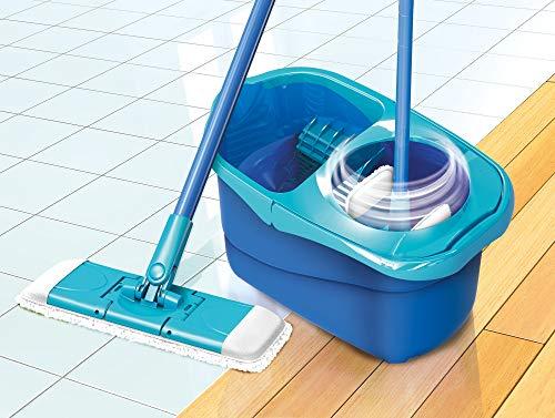 Spontex Express System + Sistema Lavapavimenti a Panno Piatto con Secchio e Strizzatura Rotante + 2 Panni di Ricambio in Microfibre, Taglia Unica