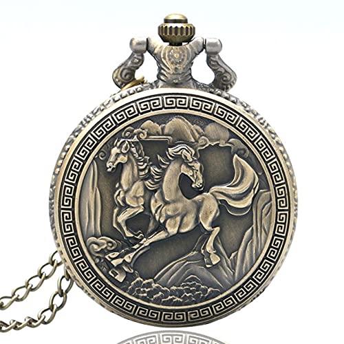 JTWMY Retro Running Horses Bronce Cuarzo Reloj de Bolsillo Collar Reloj Colgante con Cadena Larga-predeterminado