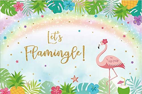 Flamingo Birthday Party Tropical Palms Tree Beach Poster Baby Kid Photo Backdrop Photography Background Photo Studio A7 1.5x1m