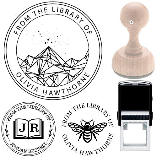 """Acotar Velaris Library Book Name Stamp Book from The Library of This Belongs to Personalized Self-Inking or Wood Handle Custom Library Teacher Customized Name from The Ex-Libris of 7/8"""" x 2 3/8"""""""