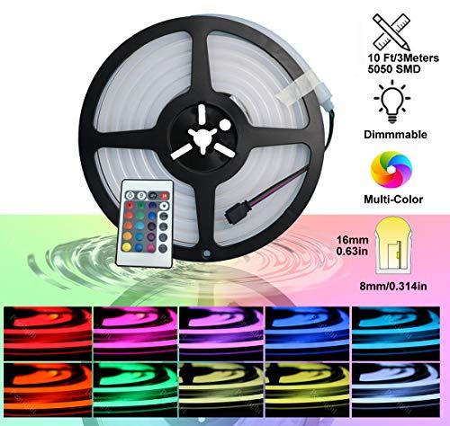 YXH Neon Lichtschlauch LED RGB Mehrfarbig flexibel wasserdicht mehrfarbig Fernbedienung für Haus Garten architektonische Dekoration (10 ft / 3 Meter, RGB)