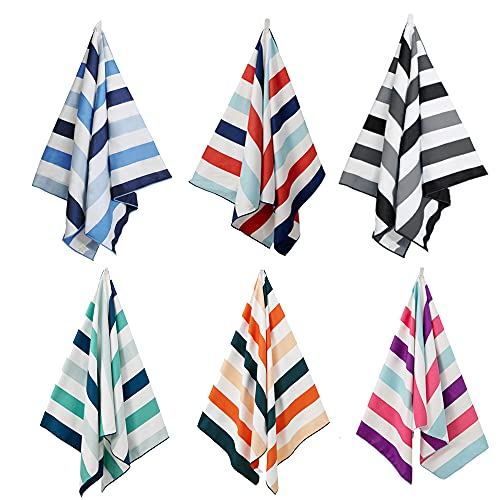 """Exclusivo Mezcla Microfiber Beach Towel, Oversized Striped Sports/Swimming/Pool Towel for Kids and Adults,(6 Pack, 30""""X60"""") Quick Dry, Lightweight and Portable"""