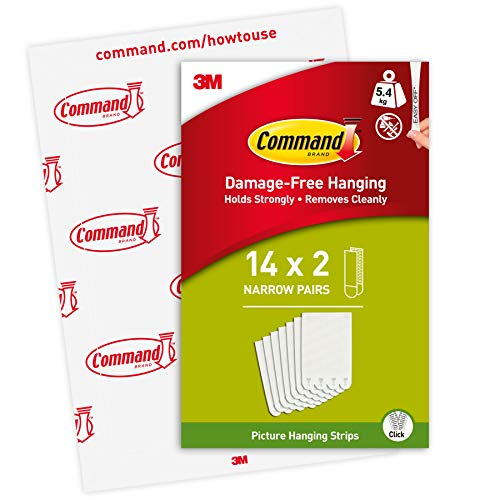 Command Narrow Picture Hanging Strips, 14 Pairs, White, Holds up to 5.4KG