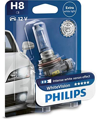 Philips 12360WHVB1 WhiteVision Bombilla para Faros Delanteros de Coches con Efecto Xenón, 4300 K, H8, 12 V, 35 W, Color Blanco Intenso
