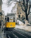 Wfmhra Cuadro de Paisaje de la Calle de Lisboa, sobre Lienzo, Cartel de Pintura al óleo, Sala de Estar, decoración del hogar 60x75 cm sin Marco