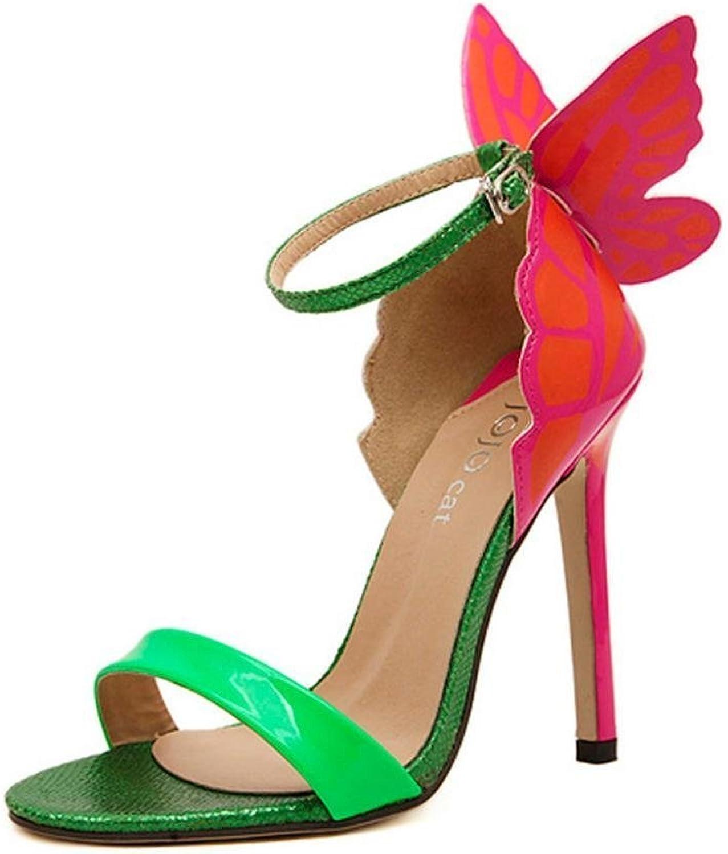 Kvinnliga Kvinnliga Kvinnliga dammode Butterfly hög klack Sandals Party skor  Kvalitetssäkring