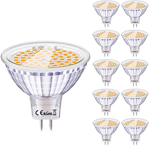 Eofiti 10er GU5.3 LED Warmweiss GU5.3 MR16 Led 12V 2700K 6W Ersatz für 50W 35W Halogen Lampe AC DC12V Kein Stroboskopeffekt GX5.3 Hohe CRI 83 Ra 540lm Hell Birne Leuchtmittel 120°Abstrahwinkel Spot