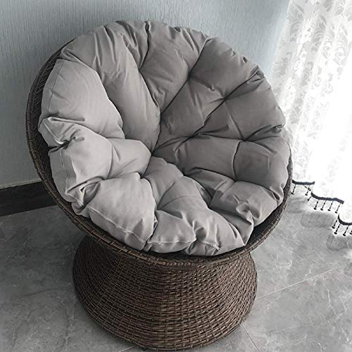 YUNLVC Soft Papasan Chair Cushion Overstuffed for Patio Hanging Egg Hammock Chair Pads Swing Hanging Basket Seat Cushion Quilted Thicken Outdoor Rattan-120x120cm(47.2x47.2 Gray