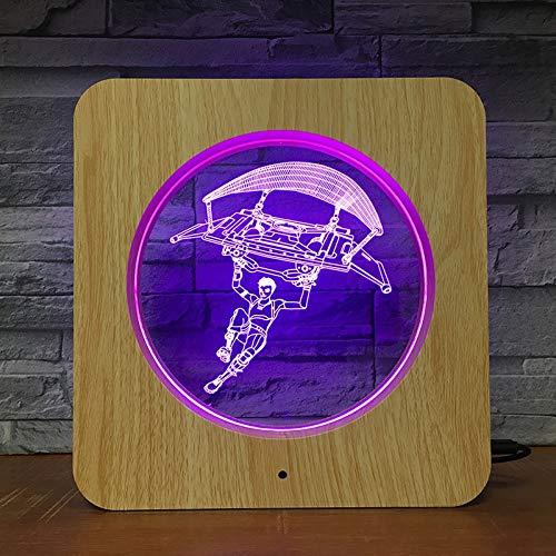 Jiushixw 3D stereo met kleurverandering, nachtlampje met afstandsbediening, eiken, tafellamp, basis cool, sportwagen, voor slaapkamer, kunst, kinderen, ovaal, voor tafellamp, manicure