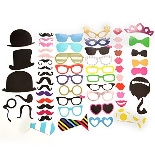 Homiki - Set di 58accessori da indossare per foto simpatiche di matrimonio / feste / selfie: baffi, cappelli, occhiali e molto altro