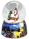 20082b MINIUM-Collection Bola de nieve invierno Papá Noel en chimenea se eleva con base de porcelana 65 mm Diámetro