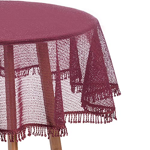 WOLTU Gartentischdecke Weichschaum mit Quaste geschäumt Wetterfest rutschfest Witterungsbeständig Outdoor Tischdecke rund 140 cm Bordeaux