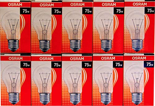 Osram Pack 10Glühbirnen Transparente Klassische Form–Sockel E27–75W