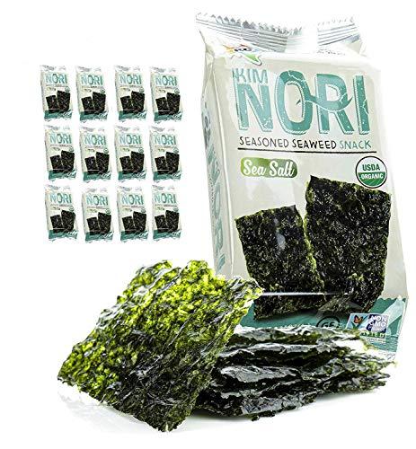 Kimnori Seasoned Organic Seaweed Snack (Sea Salt 12 Pack), USDA ORGANIC, Gluten Free, No MSG, NON-GMO, Vegan, Kosher