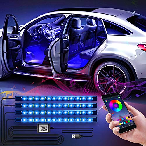 WILLED LED Innenbeleuchtung Auto, 4pcs 48LED Auto RGB Strips Wasserdichte Innenraumbeleuchtung, APP Steuerbare mit Musik Synchronisation, Multi DIY mehrfarbig Fußraumbeleuchtung, 5V USB Port