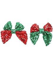 ABOOFAN 2 Pinzas para El Cabello con Lazo de Lentejuelas Navideñas Horquilla con Lazo Brillante Horquilla para El Cabello para Fiesta de Navidad Accesorios para El Cabello para Fiesta de