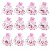 12 Bolsa Regalo Bautizo niña,Color Rosa,Arpillera y Organza-Coche y Paragua