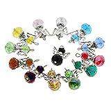 D DOLITY 12 Stück Tibetische Silber Acryl Perlen Perlenengel Schutzengel