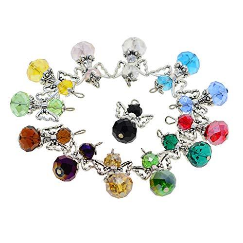 D DOLITY 12 Stück Tibetische Silber Acryl Perlen Perlenengel Schutzengel Anhänger Charms Flügel Schmuckanhänger für Schmuckherstellung Basteln Deko - Mehrfarbig