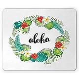 25X30CM Tapis de Souris Tropical, Lettrage Aloha à l'intérieur d'une Couronne de Plantes Exotiques avec des Feuilles de Palmier Monstera Hibiscus, Tapis de Souris antidérapant rectangulaire